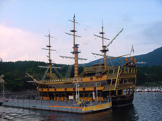 Victoria, the queen of the west sea is one of the four replica sea pirate ships or kaizokusen carrying tourists along lake Ashi, in Hakone Japan